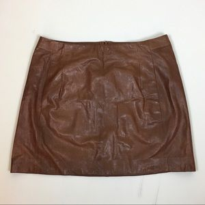 Vince brown leather mini skirt size 8